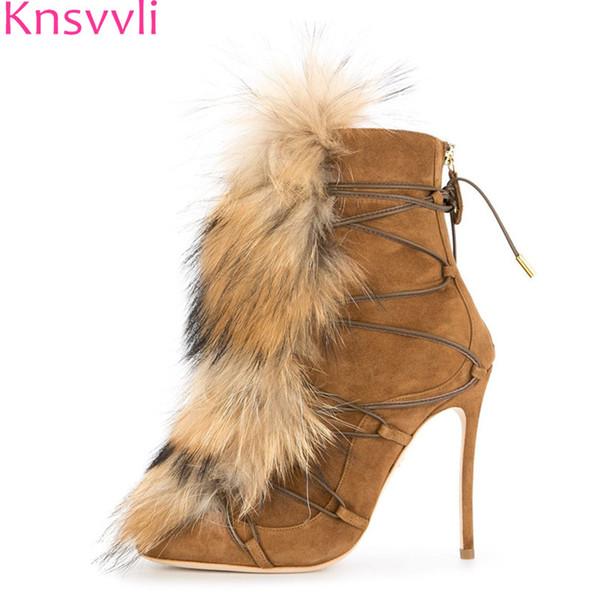 Knsvvli Faux Fur Winter Boots Donna Nero Marrone Suede sottile Tacchi alti Stivaletti Fashion Party Show Short Stivaletti zapatos mujer