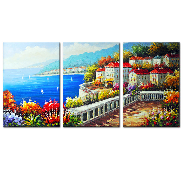 Unframed Canvas Modern Wall Art Villa Mediterranean Canvas Painting For Hotel Living Room Decoration Gifts 3 Pieces