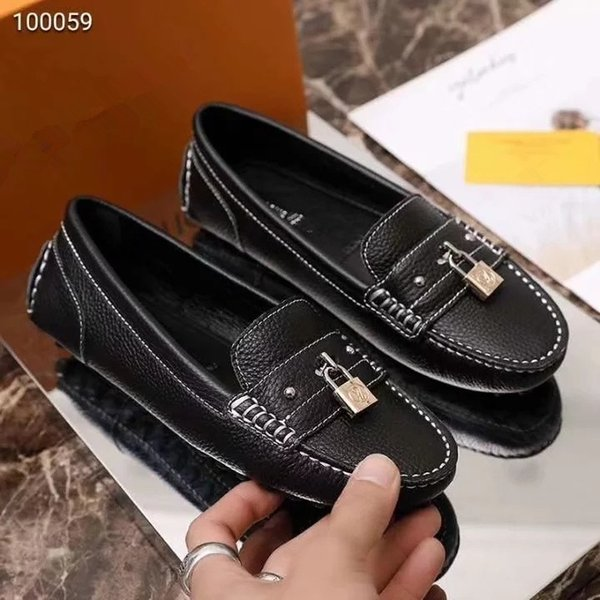 2019 New Designer British Style Leather Low-heel Slipper Casual Shoes For Women Shopping Dress Loafer Shoes Size 35-40
