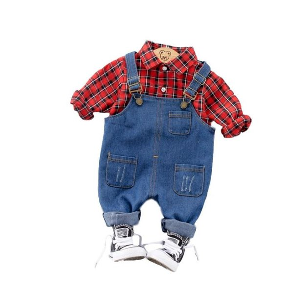 New Spring Autumn Baby Boys Clothes Set Kids Long Sleeve Plaid Shirt Tops + Jeans Suspender Pants Overalls 2pcs Children Outfits 14623
