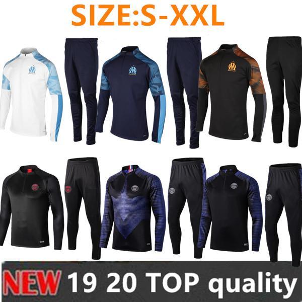 2019 2020 Fato de treino de treino de futebol para treino do Olympique de Marseille Maillot De Foot 19 20 PAYET THAUVIN OM Fato de treino de jaqueta de futebol