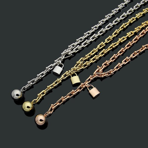 Stainless Steel Luxury lock Love Necklace for Women jewelry Accessories Zircon U type Crude gold/silver/ rose color 50cm Necklace
