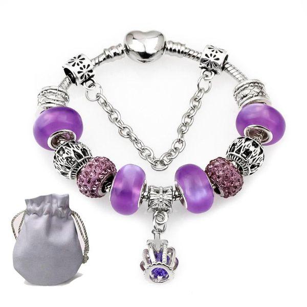 High Quality Silver Charms Bracelets Fit Pandora Women Purple Shining Crystal Glass Beads Lampwork Openwork Beaded Bangle Cross Pendant