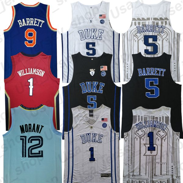 NCAA Герцог Голубые дьяволы Сион Уильямсон Джерси Р.Дж. 9 Barrett Ja 12 баскетбольных трикотажных изделий университета Морант