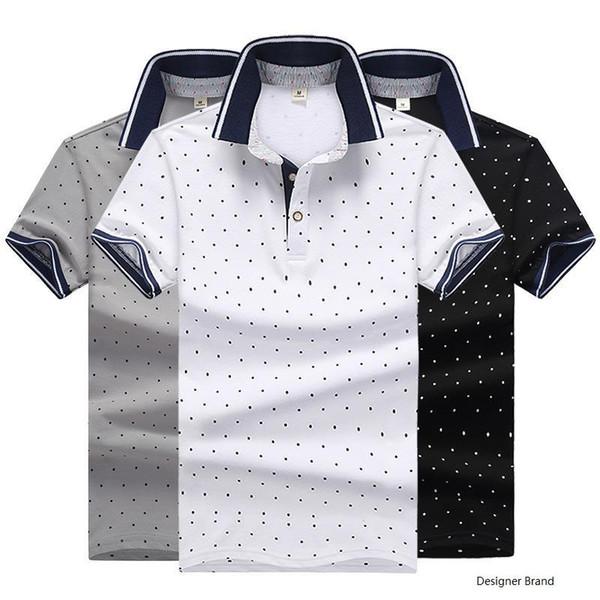 Мода Поло Мужские Сплошной Цвет Рубашки Поло Причинно Летняя Рубашка Поло Мужчины High Street Dot Печатных Хлопок Рубашки Смеси Тройники M-4XL