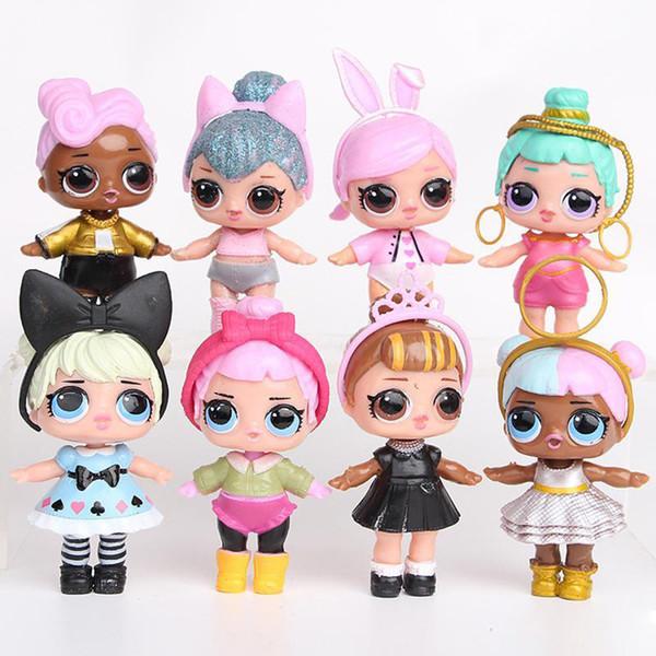 Poupées LoC 9CM avec biberon américain PVC Kawaii Enfants Jouets Anime Figurines Réalistes Poupées Reborn pour filles 8pcs / Set jouets pour enfants