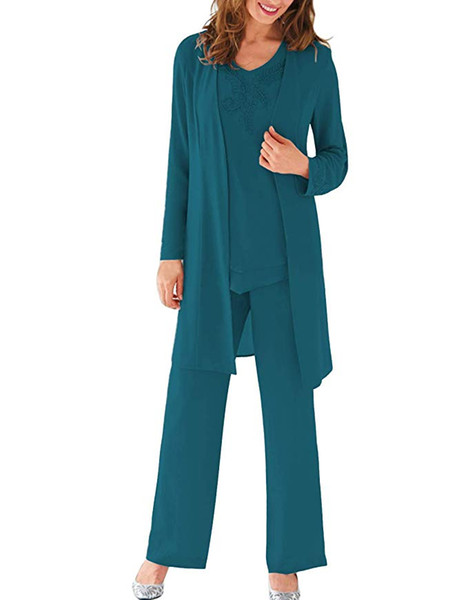 Women's Chiffon 3 Pieces Long Sleeves Formal Mother Of The Bride Dress Suit With Jacket Vestidos De Madrina Formal Wedding Party Gowns