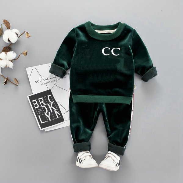 top popular HOT In stock Best selling designer top brand 1-4 years old BABY BOYS GIRLS clothes + pants high quality coco 2019
