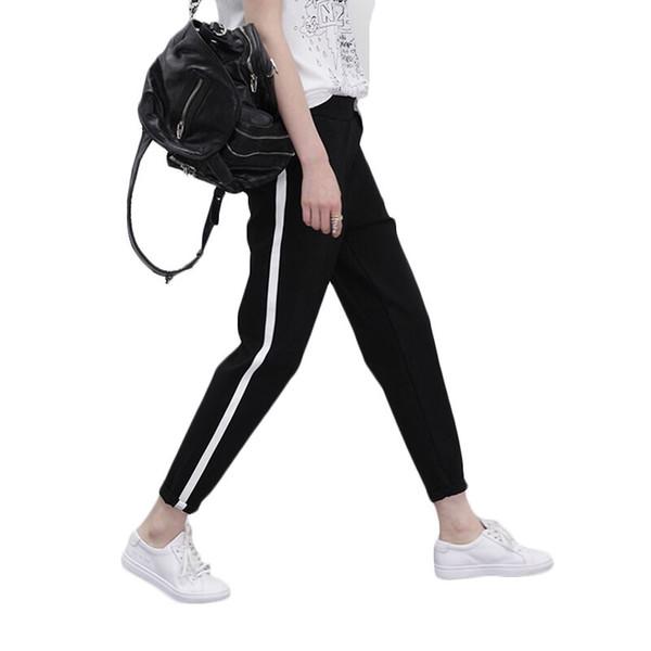 Bahar Sweatpants Joggers Kadınlar Rahat Harem Pantolon Gevşek Pantolon Kadın Siyah Beyaz Yan Çizgili Ter Pantolon Kadın Artı Boyutu