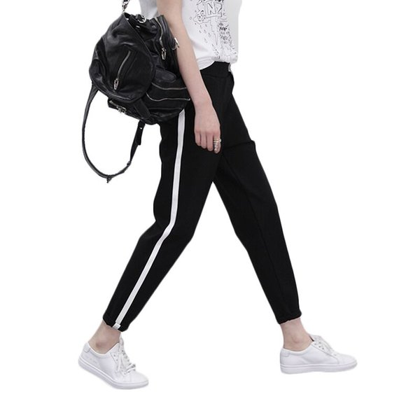 Spring Sweatpants Joggers Women Casual Harem Pants Loose Trousers Women Black White Side Striped Sweat Pants Female Plus Size