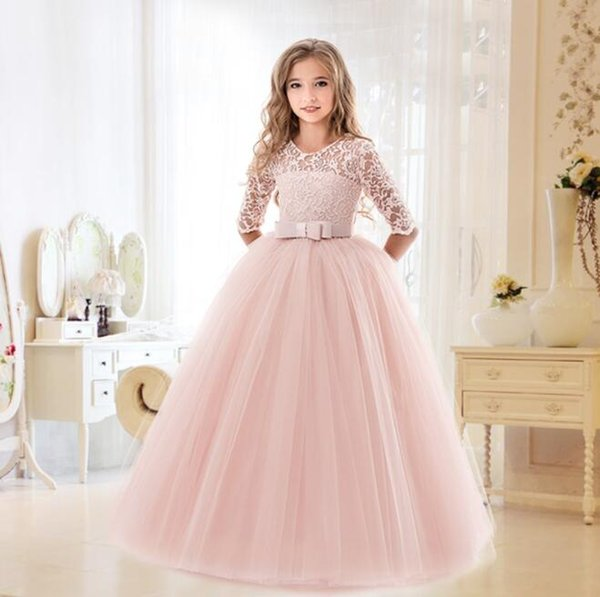 2019 New Teenage Girl Princess Lace Solid Dress Kids Flower Embroidery Dresses For Girls Children Prom Party Wear Red Ball Gown BY0829
