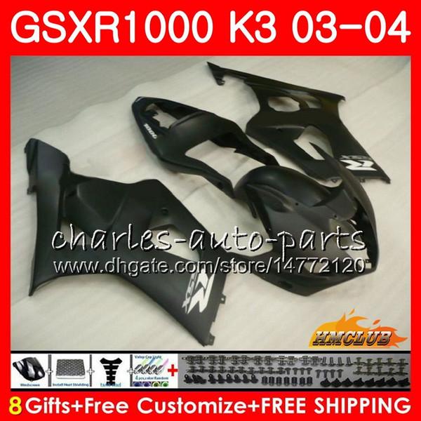 Carroçaria Para SUZUKI GSXR-1000 GSXR1000 2003 2004 03 04 Corpo 15HC.112 Estrutura GSX R1000 GSX-R1000 K3 GSXR 1000 03 04 Kit de carenagem plano preto novo