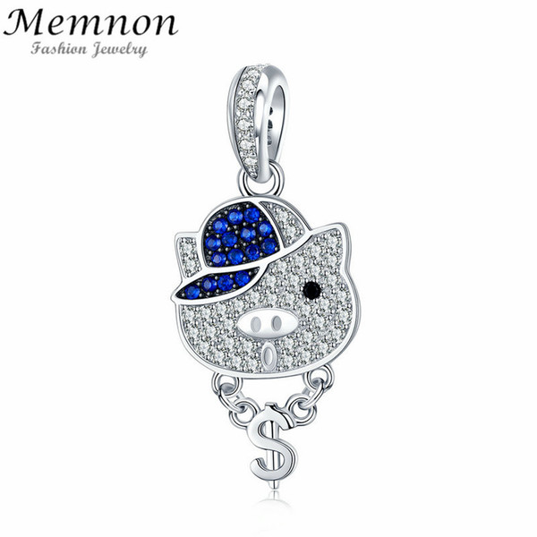 Memnon 925 Sterling Silver Crystal Pig Rock Piggy Zircon Animal dangle charms fit  Bracelet necklace DIY for Jewelry Making
