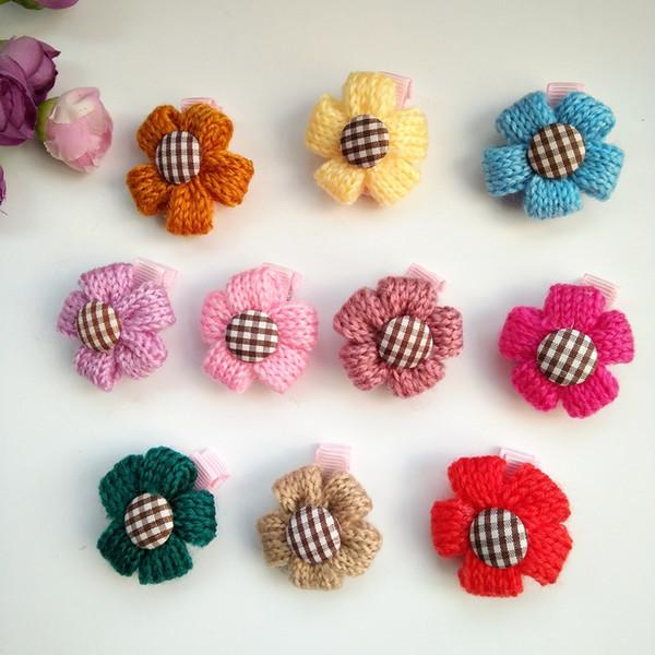 30pcs/lot Mix Colors Pet Dog Hair Bows Flower Style Pet Dog Hair Clip Dog Hair Cute Grooming Product
