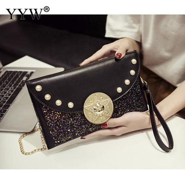 0fcdfb3fb636 Женщины клатч и кошелек с блестками цепочка сумка женская мода черный серый  сумка сумка маленький кошелек