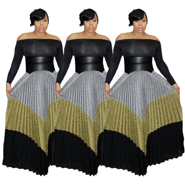 Automne et Hiver 2019 Nouvelle Mode Femmes Jupes Longues Taille Haute Pleats Argent Or Noir Mxied Couleurs Élégant Casual Robe Longueur De La Cheville