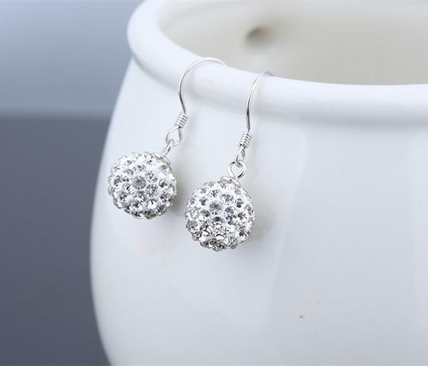 Pendant Earrings Drop s925 Silver Jewelery Girls Shambhala Ball Ear Dangles Woman Jewels Fashion Trendy Dazzling Festival Present 25mm 6pair