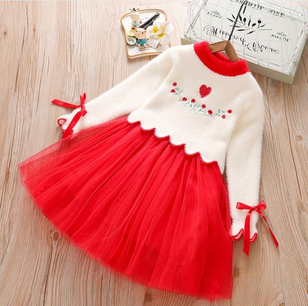 Desgaste das crianças Outono 2019 novas meninas camisola saia de mangas compridas jaqueta de veludo primavera estrangeira crianças vestido de princesa