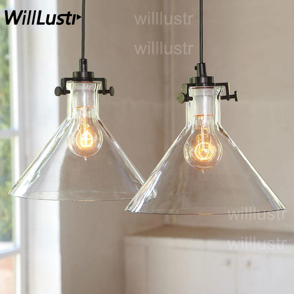 Clear Transparent Glass Funnel Pendant Lamp Edison Vintage Filament Bulb Hotel Restaurant Industrial Retro American Country Suspension Light