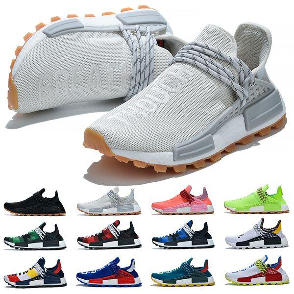 Acheter Adidas Boost NMD Human Race Trail Solaire Afro Pack Hommes Femmes Chaussures De Course Nerd Pharrell Williams HU SOLARHU Noir Blanc Sport
