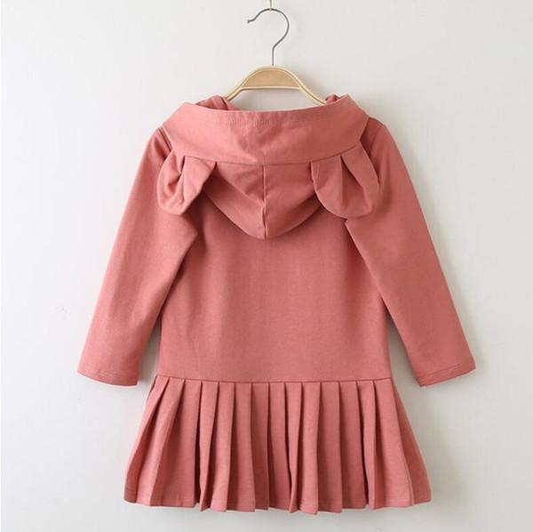 Новый свитер юбка весна осень детская одежда уши кролика носить cap с длинным рукавом повседневная девушки свитер платье