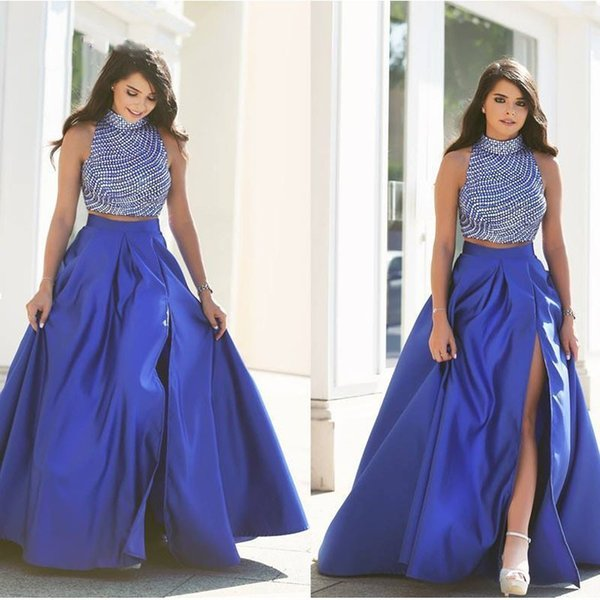 9d5c0145a9 Puffy Sexy Royal Blue Satin Faldas Largas Con Lado Alto Split Larga Plisada Falda  de Las