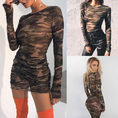 2019 new camo slim dress womens mesh dress club casual long sleeve see through bodycon evening party short mini thumbnail