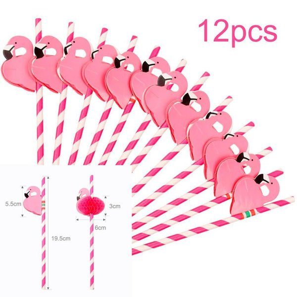 12pc Pink Straws