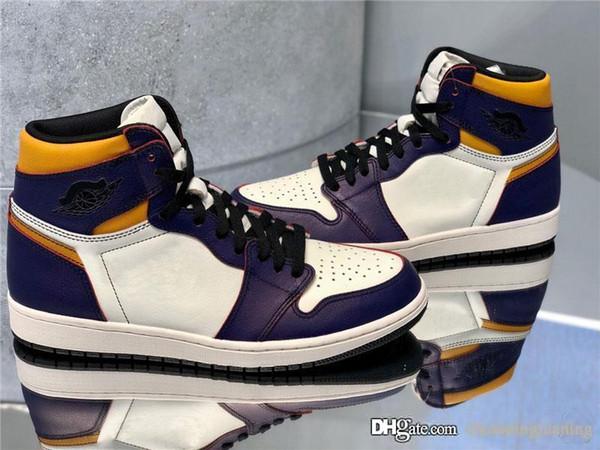 Newest Authentic Originals Air High 1 OG Defiant Basketball Shoes SB Lakers Light Bone Court Purple Black GOLD Retro Men Sneakers CD6578-507