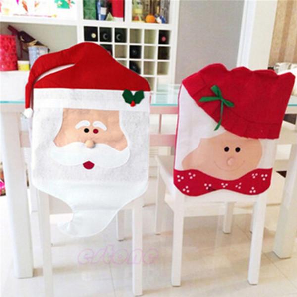 1 шт Санта-Клаус крышка крышки стула Новогоднее украшение ужин сиденье стол партия Red Hat стул Обложки Xmas украшения 25