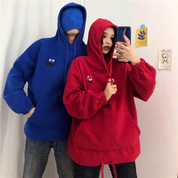 2019 new autumn women hoodie sweatshirt plus velvet pockets oversize sweatshirts female embroidered cartoon sweatshirts hooded