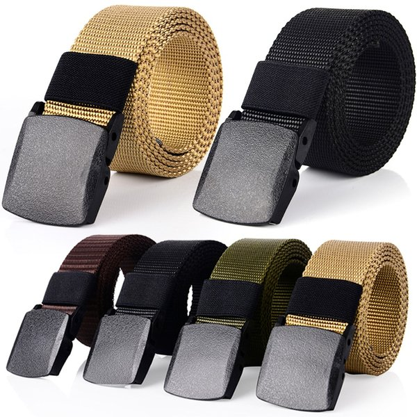 Outdoor Casual Canvas Breathable Belt Quick-drying Tactical Men Waist Belt Waistband with Plastic Buckle Waist