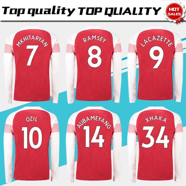 sports shoes 924b1 390f8 2019 2019 Long Sleeve #10 OZIL Home Red Soccer Jersey 18/19 #7 MKHIARYAN  Full Sleeve Soccer Shirt Long Sleeve #14 AUBAMEYANG Football Uniforms From  ...