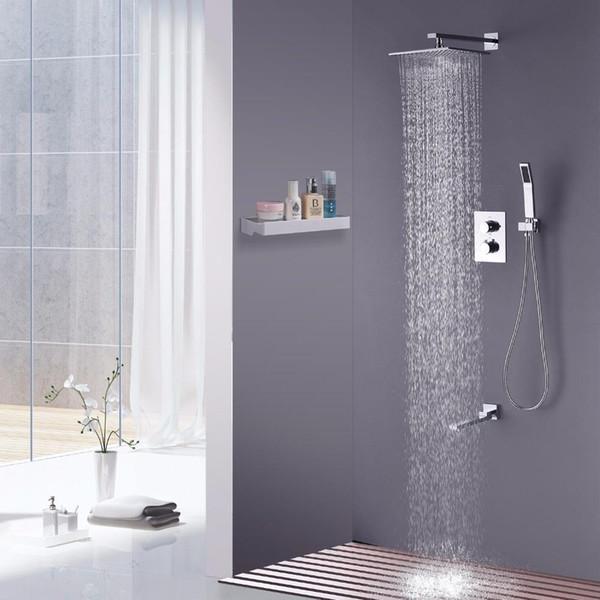 Bagno 10 pollici a pioggia quadrato Soffione doccia termostatico in ottone cromato Set doccia con bocca di erogazione dell'acqua e braccio per montaggio a parete 20180927 #