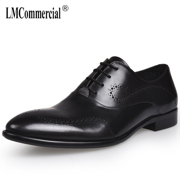 zapatos de buey de los hombres zapatos de cuero genuino de alta calidad de los hombres, con cordones de los hombres de negocios zapatos, los hombres se visten de cuero de vaca primavera otoño