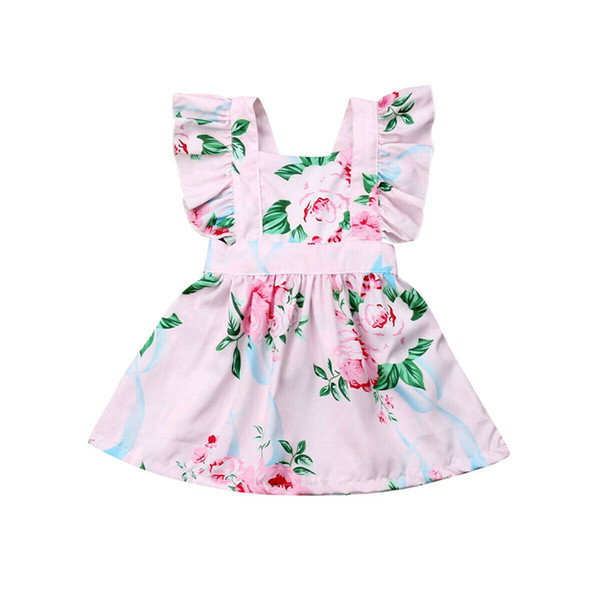 2019 New Infant Baby Girls Floral Dress Butterfly Sleeve Dress Baby Sweet Sundress Outfit Sunsuit Clothes Set 0 to 24M