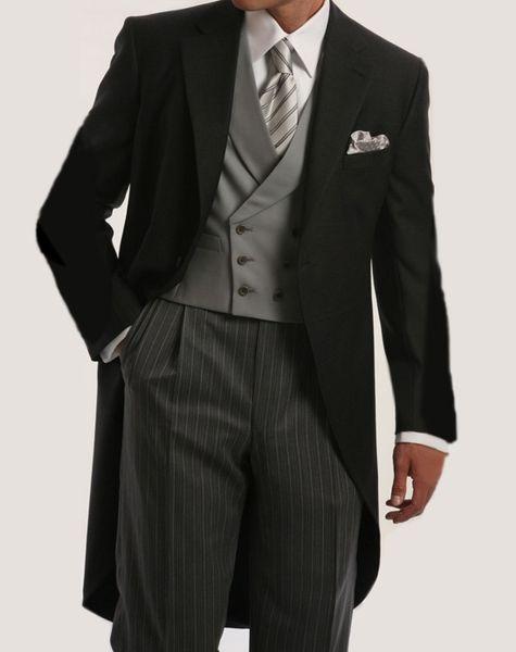 Morning Style Groomsmen Custom Made Groom Tuxedos One Button Men Suits Wedding Best Man Blazer ( Jacket+Pants+Vest ) C123 #542260
