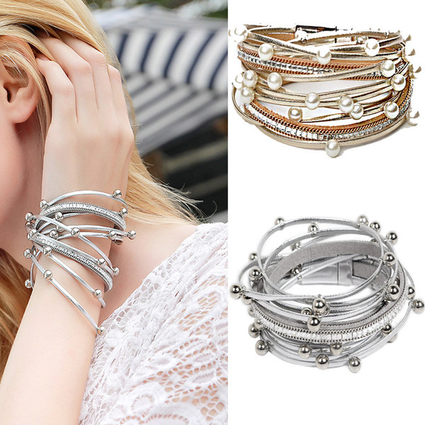 DS7 Multilayer Leather Bracelets for Women Femme Crystal Metal Beads Charm Bohemian Style Bracelet accurate magnetic closure Female Jewelry
