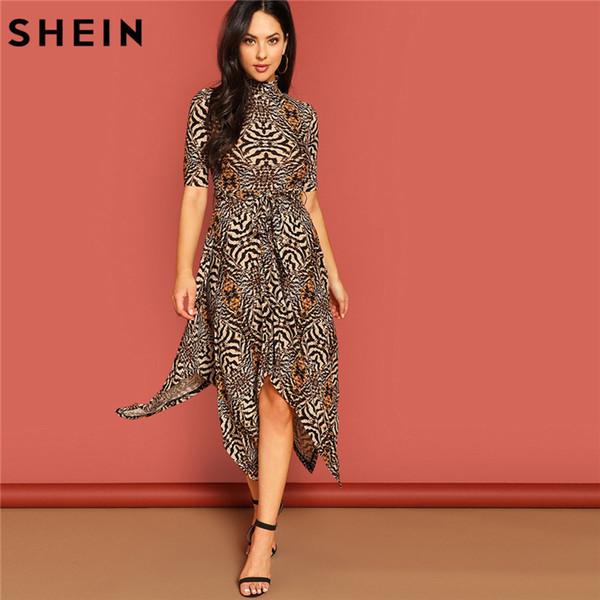Compre Shein Multicolor Animal Print A Line Vestido Elegante Cinturón Largo Vestidos De Media Manga Mujeres Primavera Cuello Alto Vestido Casual A