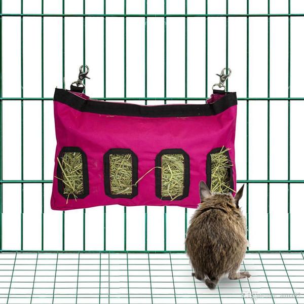 Hay Bag Hanging Feeder Sack Holder Feeding Supply For Rabbit Guinea Pig Chinchilla Small Animals Pet Cage Accessories free shipping new 2019