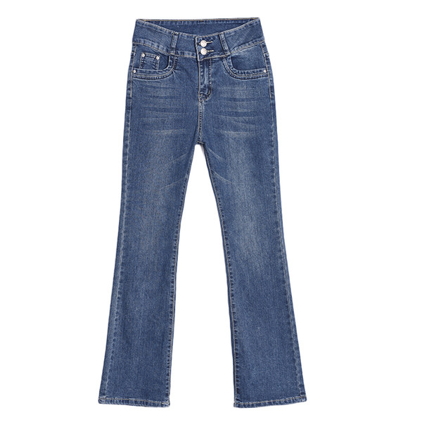 Free Shipping 2018 New Women's Boot Cut Jeans Plus Size Flare Pants Girls Business casual Blue Bell Bottom Office Lady Trousers