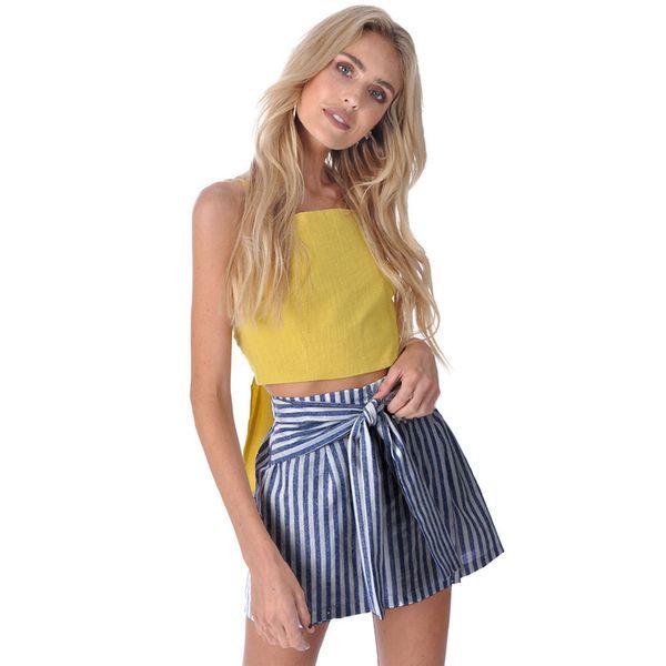 Faldas Mujer Moda 2019 Women High Waist Ruffles Striped Skirt Sexy Slim Short Pencil Skirts Bow Tied Mini Skirt With Bow Belt