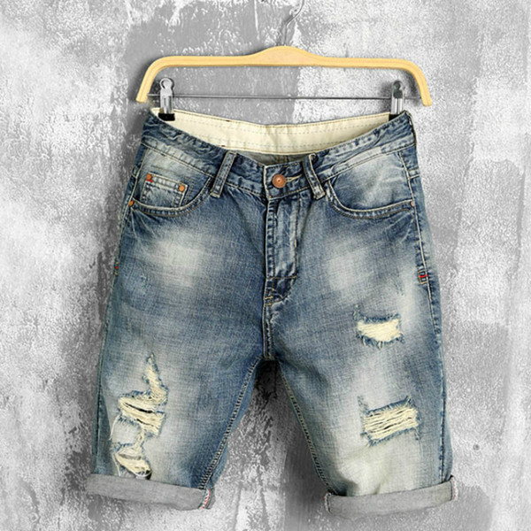 2019 New Fashion Mens Summer Hole Shorts Jeans Retro Old Washed Patch Mens Denim Pants Men Designer Embroidered Denim Shorts Blue