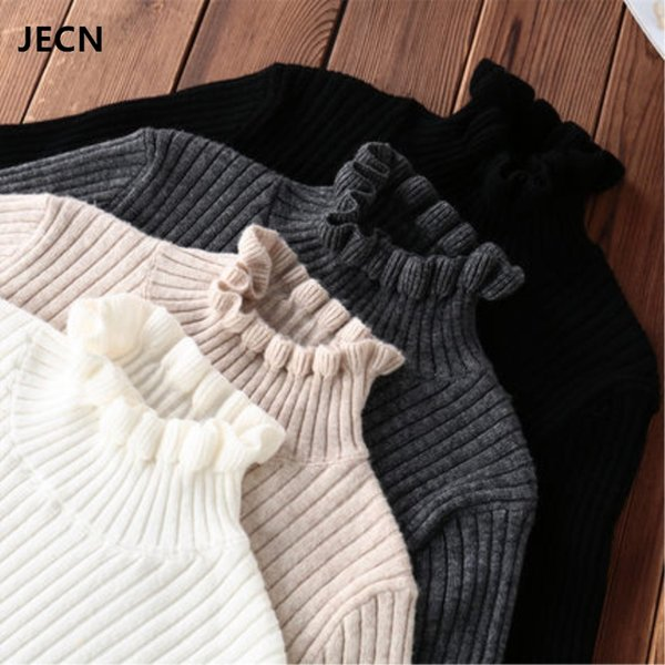 jecn spring winter cashmere wool sweater pullovers fashion solid slim stretchy ruffled collar women computer knitted jumper