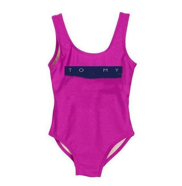 High End One piece Baby Girls Jumpsuits Swimwear Printing Letter Swimsuit Bikini Kids Beach Clothing Children's Swimsuit
