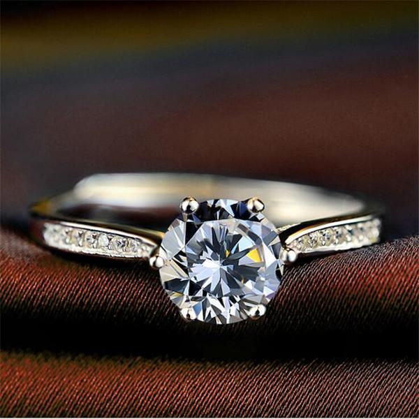 Dama de la moda de plata esterlina anillos de Rhinstone personalidad simple Shinning anillos del encanto de moda ajustable fiesta amor anillo joyería