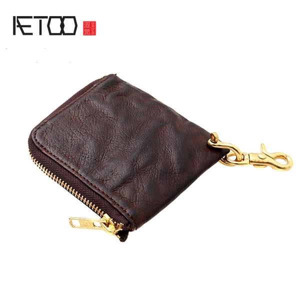 AETOO Handmade leather small wallet retro trend man short wallet ultra-thin zipper small money clip bag
