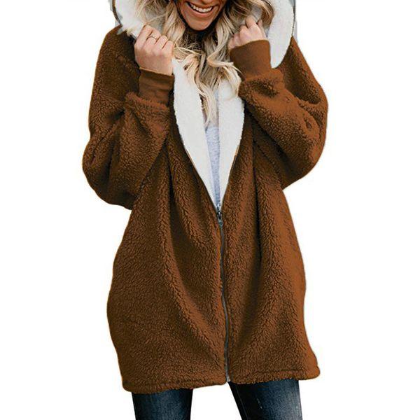 Inverno Engrossar Quente Faux Fur Coat Moda Feminina Com Capuz de Lã Macia Com Zíper Cardigan Feminino Casacos Casuais Plus Size 5X8L1287