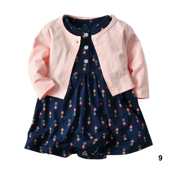 Girl Baby Two Piece Set Romper Dress and Coat Cute Printed Romper Sets Infant Gift Clothes 6M-24M Baby Wear