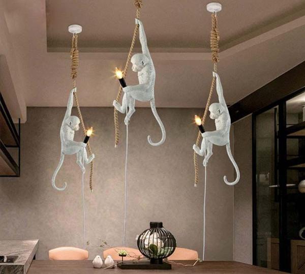 Retro Maymun Kolye lamba Reçine Beyaz Maymun Lamba Loft Için Vintage Halat Kolye Işık Ev Bar Cafe için Retro Asılı Işıklar LLFA